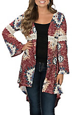 Jody Women's Navy and Burgundy Aztec Kimono