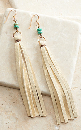 J.Forks Designs Cream Leather Tassel and Turquoise Stones Earrings