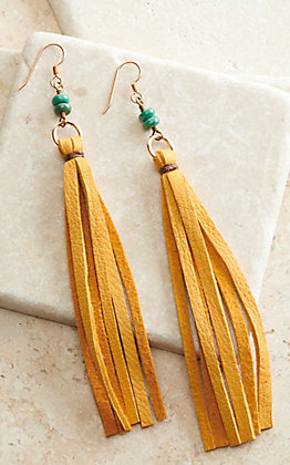 J.Forks Designs Mustard Leather Tassel and Turquoise Stones Earrings