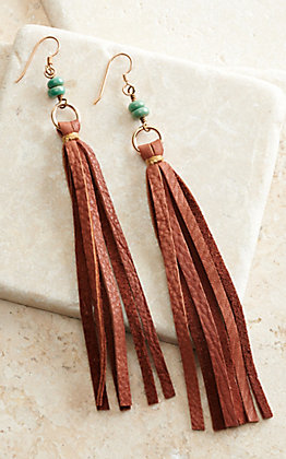J.Forks Designs Saddle Brown Leather Tassel and Turquoise Stones Earrings