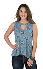 Jody Women's Blue and Black Bandana Print Sleeveless Fashion Top