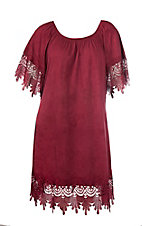 Jody Women's Burgundy Faux Suede & Crochet Short Sleeve Dress - Plus Size