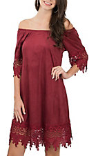 Jody Women's Burgundy Faux Suede & Crochet Short Sleeve Dress