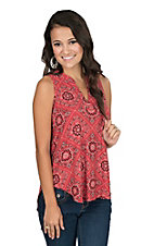 Jody Women's Red and Black Bandana Print Sleeveless Fashion Top
