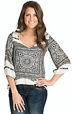Renee C. Women's Black and White Bandana Top