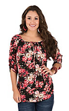 Jody Women's Black with Pink Floral with Lace Back Fashion Shirt