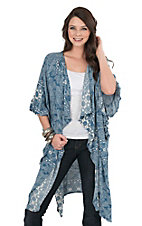 Ivy Jane Women's Blue Paisley with Ruffled 1/2 Sleeves Kimono