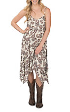 Jody Women's Cream and Burgundy Floral Tank Dress