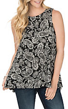 Jody Women's Black Paisley Tank Fashion Shirt