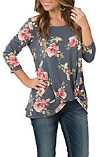 Jody Women's Navy Floral Rolled Knot Fashion Shirt
