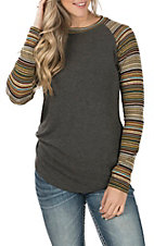 Jody Women's Grey with Gold & Merlot Stripe Long Sleeves Casual Knit Top
