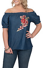 Jody Women's Dark Denim With Floral Embroidered Off the Shoulder Fashion Shirt