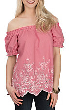 Jody Women's Red Gingham Print w/ Embroidery Off the Shoulder Fashion Shirt