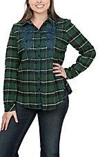 Andree Women's Hunter Green Plaid Long Sleeve with Blue Embroidery Shirt