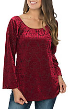 Jody Women's Burgundy Burnout Velvet Fashion Shirt