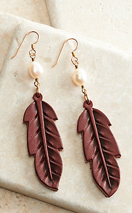 J.Forks Designs Wine Leather Feather with Pearl Earrings