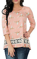 Jody Women's Blush and Cream Steer Print 3/4 Sleeve Casual Knit Shirt