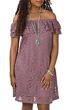 Jody Women's Purple Lace Ruffle Off the Shoulder Dress