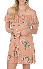 Jody Women's Blush Floral Off the Shoulder Dress