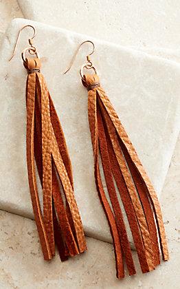 J.Forks Designs Cognac Brown Leather Tassel Earrings