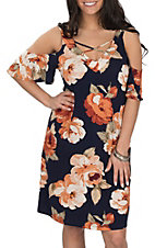 Jody Women's Navy and Rust Floral Print Cold Shoulder Dress
