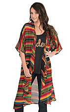Turquoise Haven Women's Yellow, Red, and Green Serape Print 1/2 Sleeve Kimono