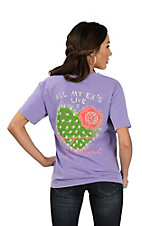 Women's Lilac All My Exes Live In Texas Cactus T-Shirt