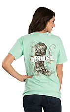 Women's Mint Green Blame It All On MY Roots Screen Print Short Sleeve T-Shirt