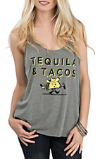 Couture Tee Woman's Grey Tequila And Tacos Sleeveless Casual Knit Top