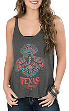 Bella Women's Texas Gypsy Grey with Aztec Eagle Sleeveless Casual Knit Top