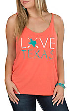 Couture Tee Women's Coral Love Texas Sleeveless Casual Knit Top