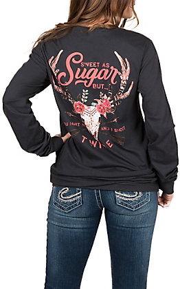 Women's Long Sleeve Sweet as Sugar Charcoal T-Shirt