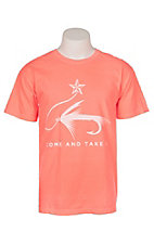 C.C. Creations Men's Neon Orange Come And Take It Fish Hook Graphic S/S T-Shirt