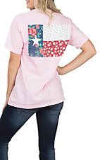 Women's Pink Blosson Texas Flag Print S/S Tee