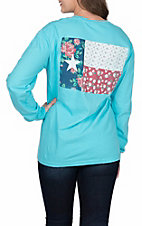 Women's Long Sleeve Floral Texas State Flag T-Shirt