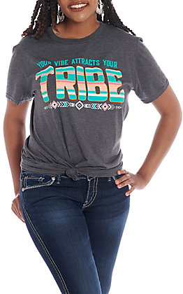 C.C. Creations Women's Grey Your Vibe Attracts Your Tribe Short Sleeve T-Shirt