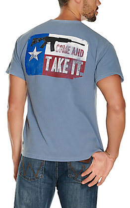 Men's Blue Come and Take It Texas Flag Short Sleeve T-Shirt