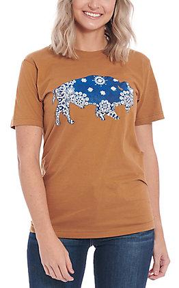 Benita Ceceille Women's Camel Buffalo Graphic Short Sleeve T-Shirt
