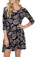 Jody Women's Navy Paisley Print 3/4 Sleeve Dress