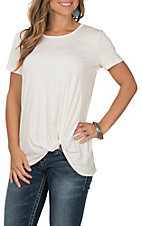 Jody Women's Solid Ivory with Rollover Knot Short Sleeve Casual Knit Shirt
