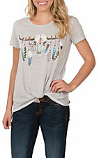 Jody Women's Grey Skull with Feather Print Short Sleeve Casual Knit Shirt