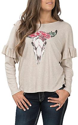 Jody Women's Oatmeal Ruffle Sleeve Skull Casual Knit Top