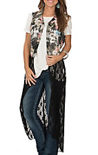 Jody Women's Black Lace with Floral Duster Vest