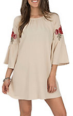 Jody Women's Stone with Flower Applique Bell Sleeve Dress