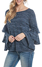 Jody Women's Navy Ruffle Sleeve Casual Knit Top