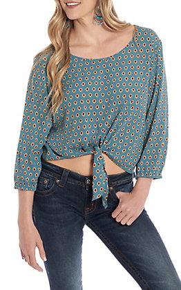 Jody Women's Blue Multi Print Tie Front Fashion Top