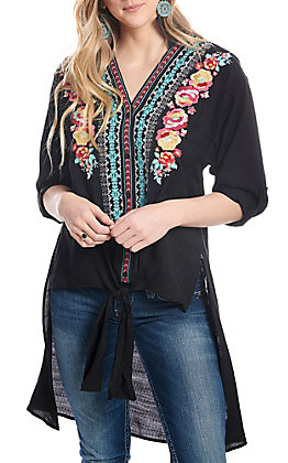 April Sky Women's Black High Low Multi Floral Embroidered Knot Front Fashion Top