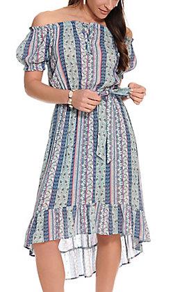 Jody Women's Blue and Rose Print Hi-Lo Short Sleeve Dress