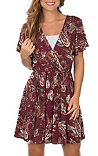 Jody Women's Burgundy Paisley Short Sleeve Dress