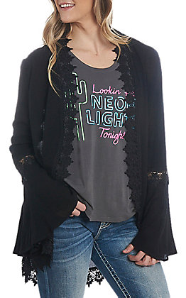 Jody Women's Black Solid Lace Kimono